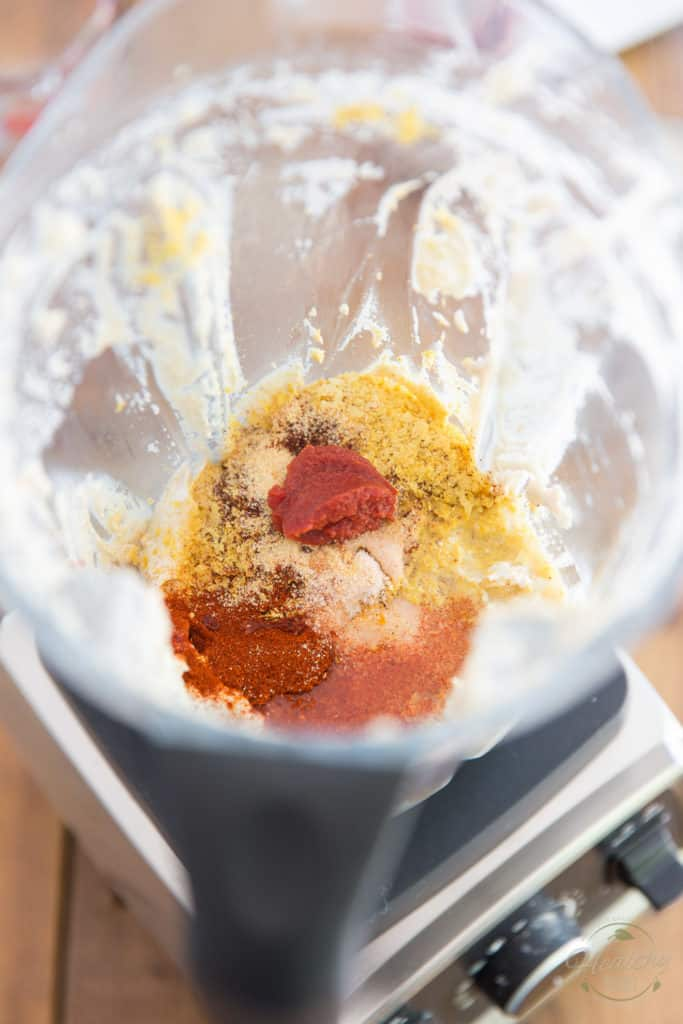 Blend on high for about 30 seconds then add the spices