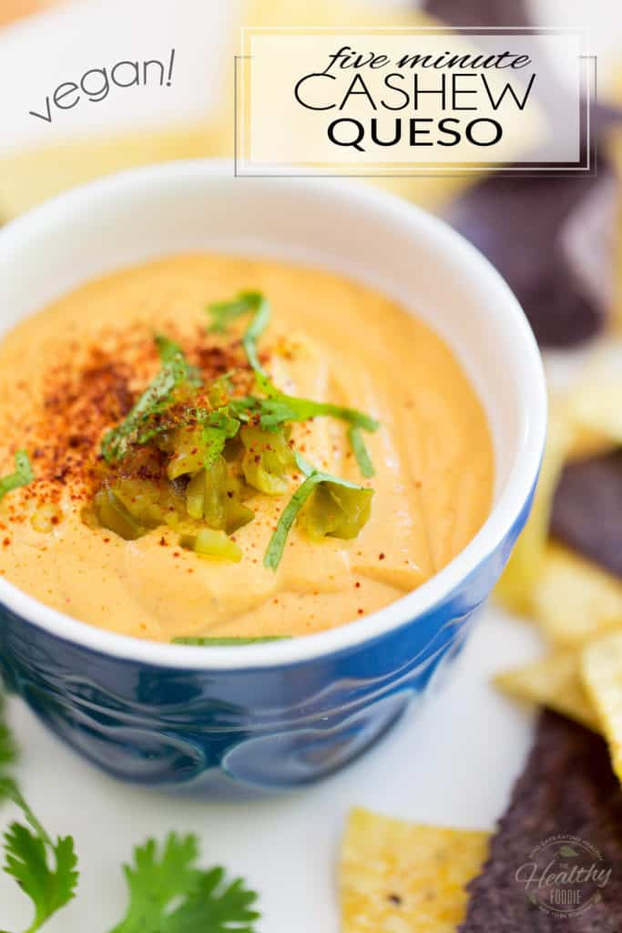 Ready in just 5 minutes, this cashew queso is an irresistibly cheesy dip that can be enjoyed not only with tortilla chips, but with just about anything Mexican... or not!