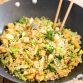 Got a bunch of veggies in the fridge in desperate need to be used up? This Vegan Tofu Cashew Fried Rice is the perfect solution for you!