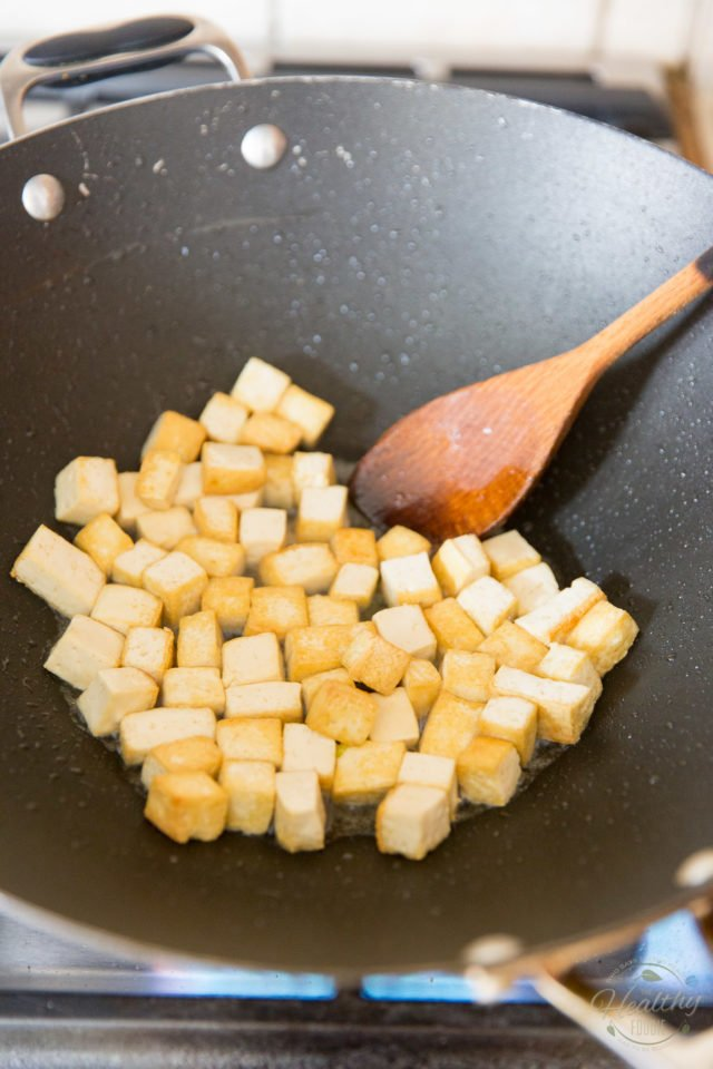 Cook the tofu until golden and crispy on all sides
