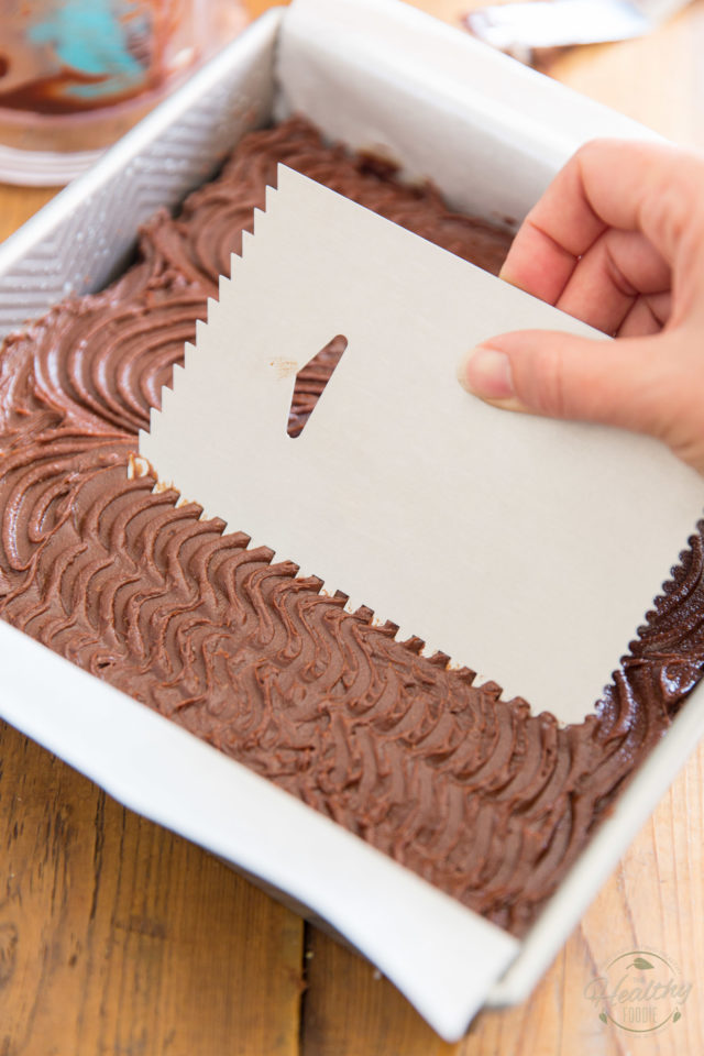 Make patterns in the frosting with a comb, if desired