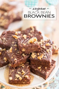 These Vegan Black Bean Brownies are so incredibly fudgy, dense and chocolate-y, yet they are made from nothing but healthy, wholesome ingredients! Serve them at your next party and don't say a thing: I can guarantee you that not a single soul will be able to tell...