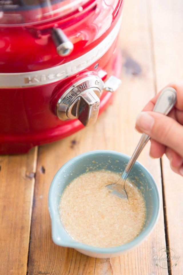 Make flax egg by mixing 2 tbsp of flax meal with 6 tbsp of water and let rest for 10 minutes in the fridge