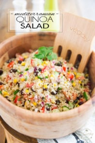 This Vegan Mediterranean Quinoa Salad is super quick to make and keeps well for several days in the fridge, making it an ideal contender for your next potluck, picnic, barbecue or other any social gathering where you're expected to bring food...
