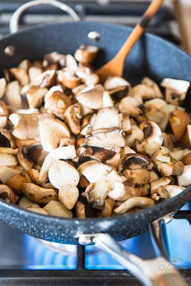 Add the mushrooms to the skillet
