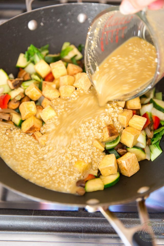 Return the tofu and add the sauce to the pan