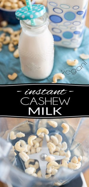 Rich, creamy and super tasty to boot, this Instant Homemade Cashew Milk only requires 2 ingredients and 1 minute of your time to make. Plus, unlike many other dairy-free milk alternatives, this one requires no soaking and no straining either; it's a no fuss, no mess, zero waste recipe!