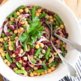 Ready in mere minutes and delicious any time of the year, this sturdy, Classic Three Bean Salad in tangy vinaigrette is the perfect make-ahead recipe for parties, potlucks, backyard barbecues or any social gatherings.