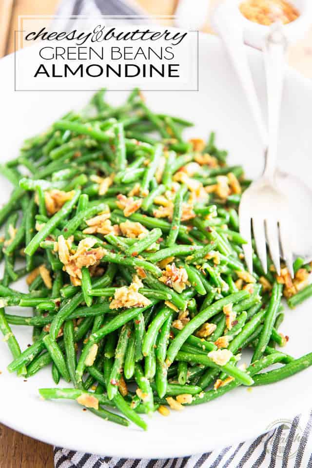 Ready in under 10 minutes, these Vegan Cheesy and Buttery Green Beans Almondine are so rich and scrumptious, they're the perfect side dish for any occasion, from the casual get together to the most elaborate of dinners