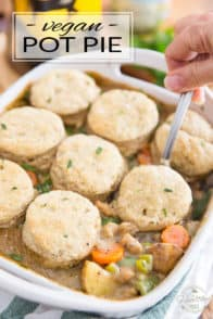 This Vegan Pot Pie topped with Vegan Whole Wheat biscuits is not only a super fun variation on this great classic comfort dish, but it's also much quicker and easier to make, too!