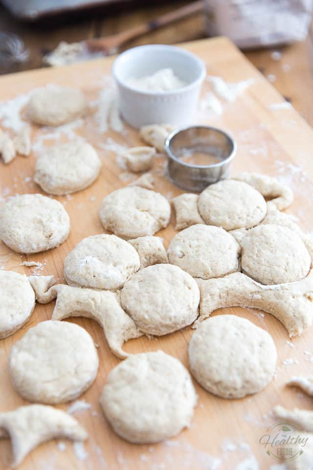 "Cut out your biscuits with a 2-1/2"" round cookie cutter"