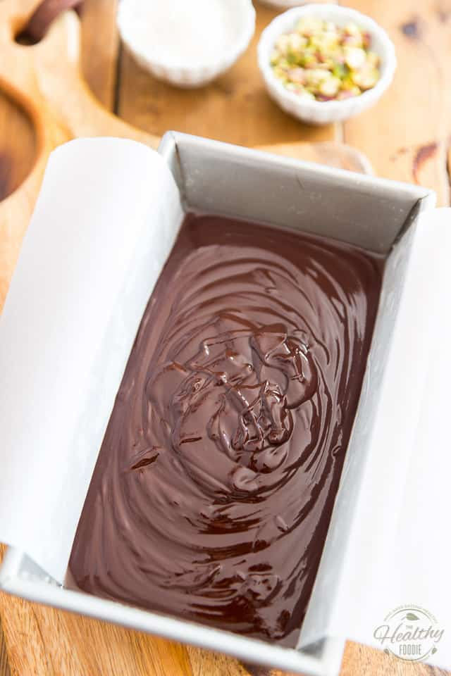 Overhead view of the melted fudge mixture in the loaf pan