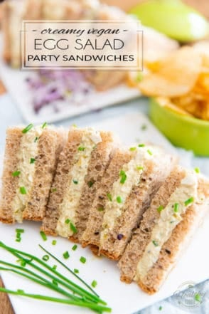 These Creamy Vegan Egg Salad Party Sandwiches look and taste so much like the real deal, no one will ever notice if you just drop them on the table without saying a word...