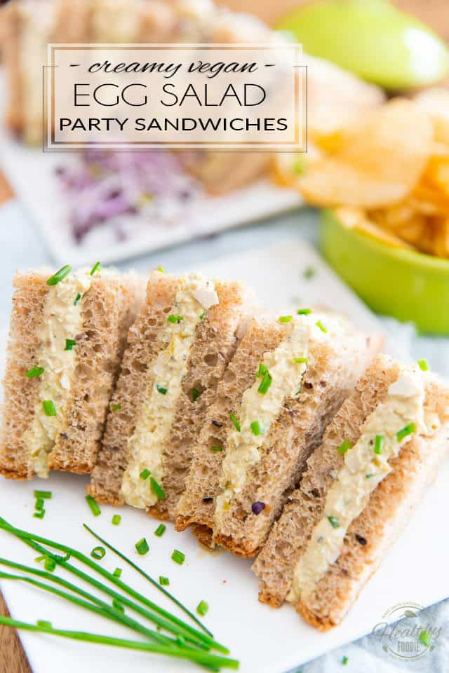 These Vegan Creamy Egg Salad Party Sandwiches look and taste so much like the real deal, no one will ever notice if you just drop them on the table without saying a word...