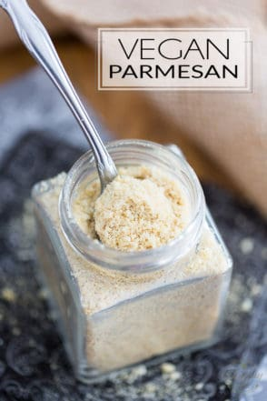 "This 5 ingredient Vegan Parmesan only takes 2 minutes to make, and it's so crazy tasty, you'll want to sprinkle it on everything! Think ""nooch"" to the 10th power!"