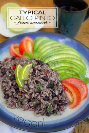Gallo Pinto is a traditional Costa Rican dish, typically served at breakfast with fried plantain, toasts, fresh fruits and, traditionally, a couple of fried eggs.