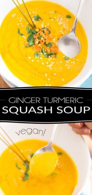 A hearty and comforting soup with a definite kick, this Ginger Turmeric Squash Soup is guaranteed to make you feel warm inside, whether you decide to eat it hot, or cold!