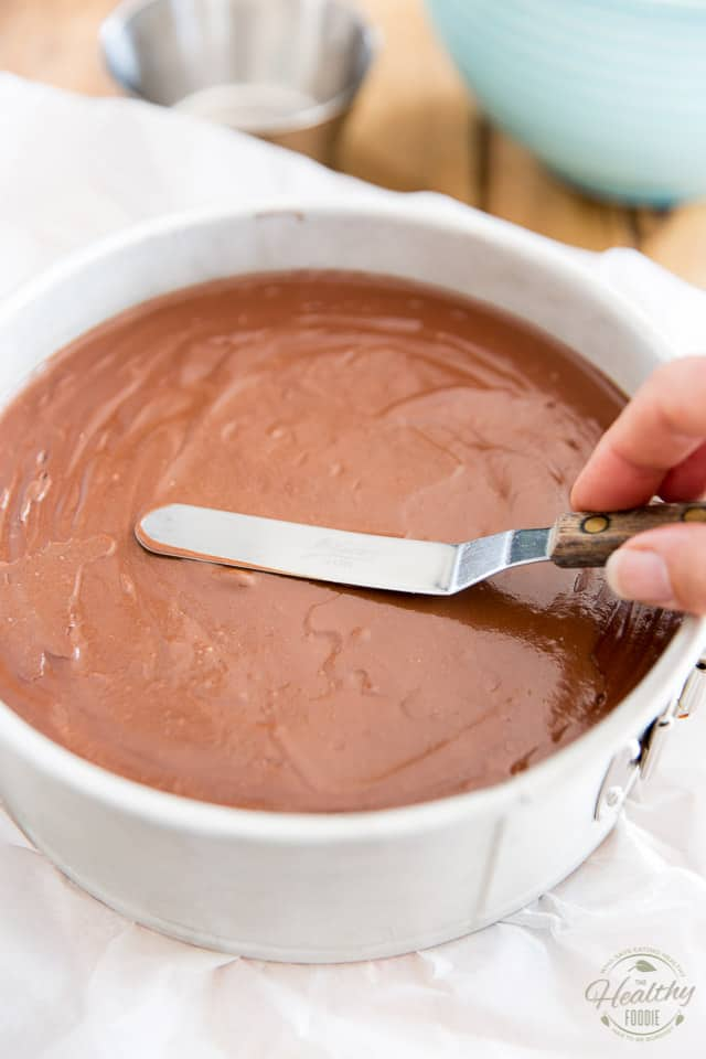 Smooth the chocolate mixture with an offset spatula
