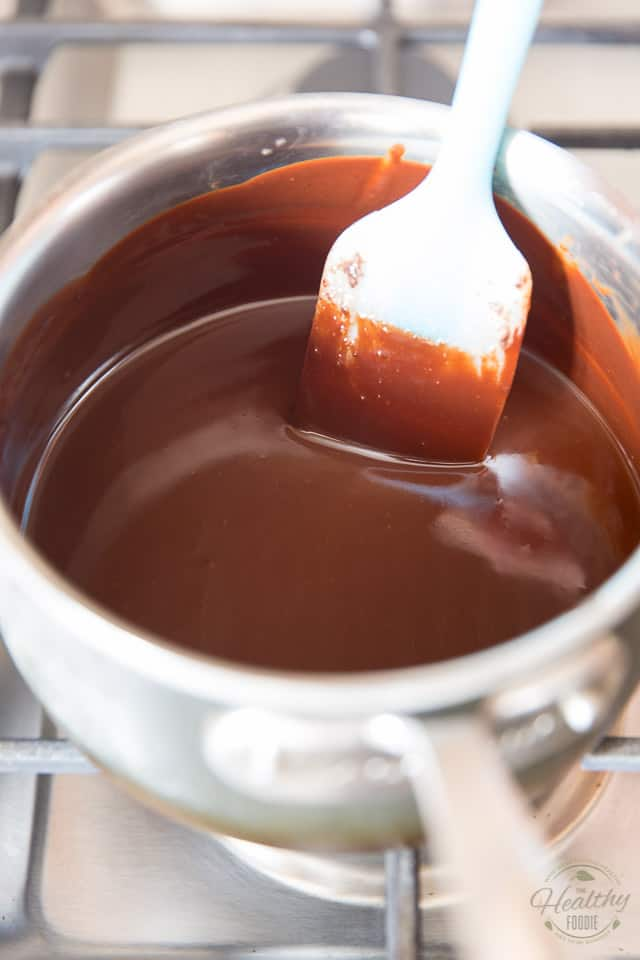 Melt the chocolate over low heat until smooth and silky stirring almost constantly