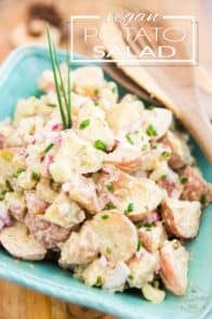Tender chunks of potatoes in a yummy creamy dressing, with just the right amount of crunch and tanginess! This Vegan Potato Salad is easy to make — ahead of time too — making it the perfect option for picnics, barbecues and potlucks.